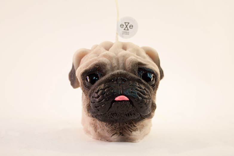 PAINTED PUG DOG CANDLE
